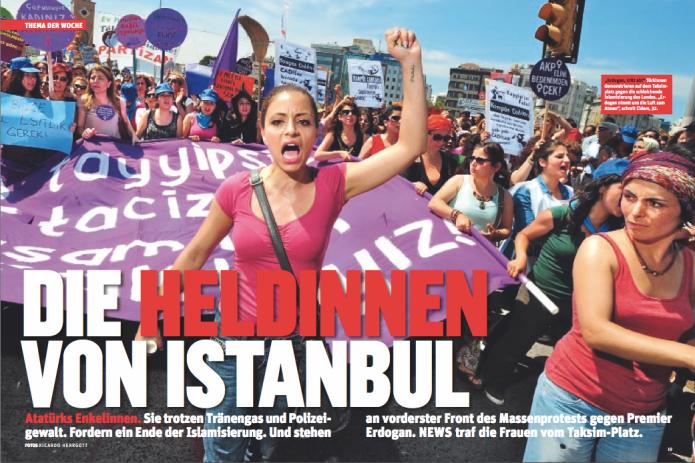 Frauen demonstrieren auf dem Taksim-Platz in Istanbul gegen Premier Erdogan (Foto: Ricardo Herrgott)