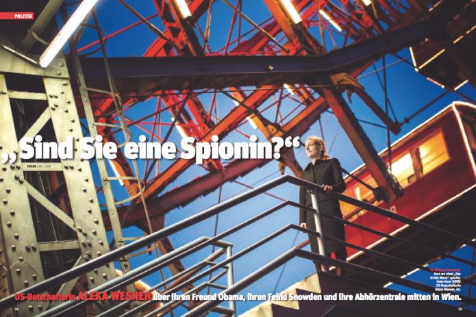 US-Botschafterin Wesner vor dem Wiener Riesenrad (Foto: Ian Ehm)