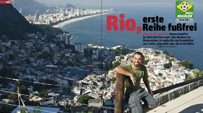 Vielleicht der schönste Ausblick der Welt. Wielend auf seiner Terrasse hoch über Rio (Foto: Ricardo Herrgott)