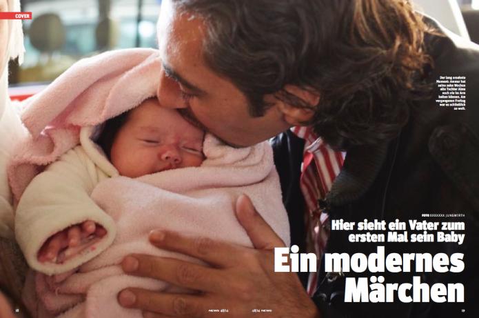 Der lang ersehnte Moment: Ammar hat seine zehn Wochen alte Tochter Alma noch nie im Arm halten können. (Foto: Heinz S. Tesarek)
