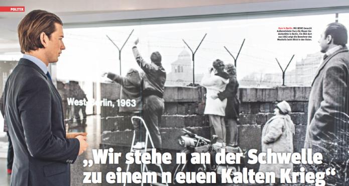 Außenminister Sebastian Kurz an der Mauer-Gedenkstätte in Berlin (Foto: Ricardo Herrgott)