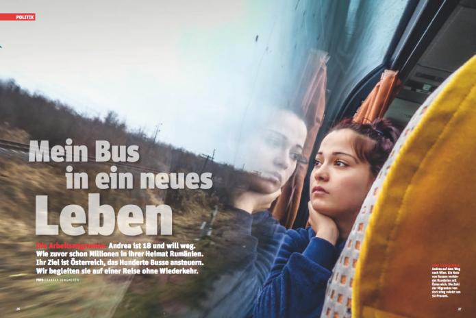 Andrea im Bus nach Wien (Foto: Ricardo Herrgott)